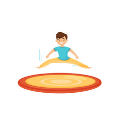 Smiling boy jumping on trampoline and making twine vector