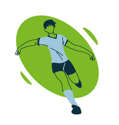Soccer player man with uniform in aerodynamic vector