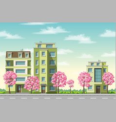 Some houses with flowering trees vector