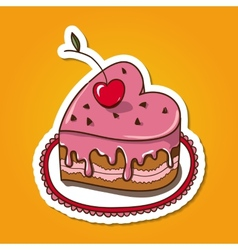 Sweet heart shaped cake vector image