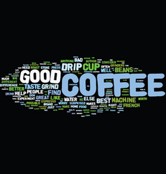 The best cup of drip coffee possible text vector