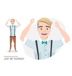 the guy is happy and smiling vector image