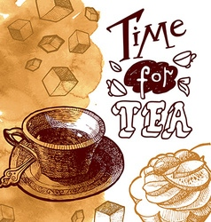 time for tea background vector image