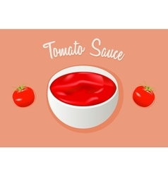 Tomato sauce or paste Ketchup and two tomatos vector