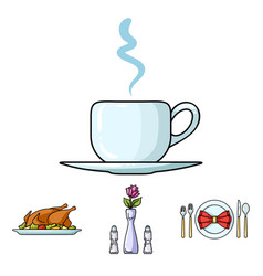 vase with a flower table setting fried chicken vector image