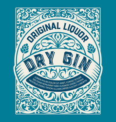 Vintage gin label layered vector