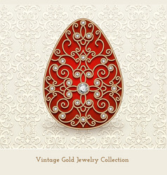 Vintage jewelry gold easter egg vector