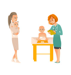 visit to pediatrician set - mother with baby on vector image