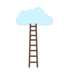 white background with brown ladder to cloud vector image