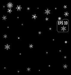 winter pattern of snowflakes on a black background vector image
