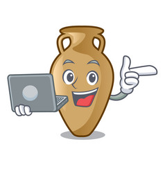 with laptop amphora character cartoon style vector image