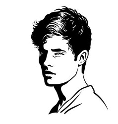 young man portrait black and white style vector image