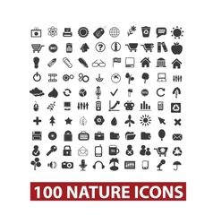 100 nature icons set vector image vector image