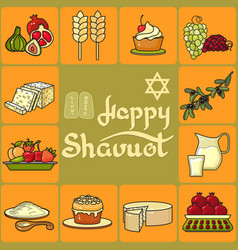 Happy shavuot card icons set vector