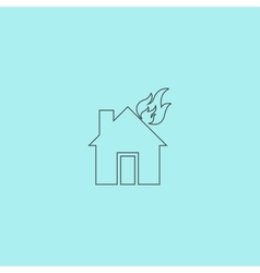 House on fire icon vector image vector image