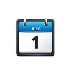 July 1 Calendar icon flat vector image vector image
