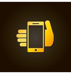 Mobile phone in hand - gold icon or logo vector image