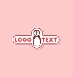 Paper sticker on stylish background penguin logo vector
