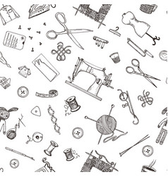 seamless pattern of sewing tools and materials or vector image