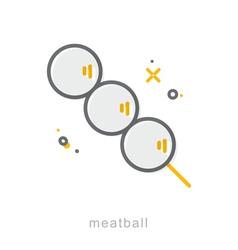 Thin line icons meatball vector