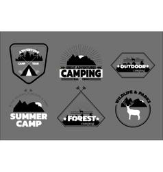 Camping logos set outdoor emblems labels vector image vector image