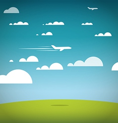 Flying jet in the sky Vacation vector image vector image