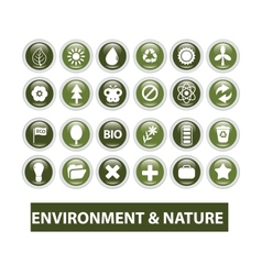 nature ecology glossy buttons set vector image vector image