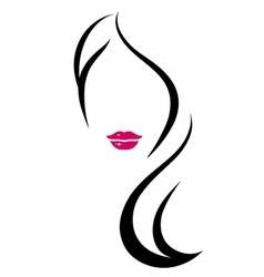 woman silhouette with long hair vector image