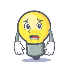 afraid light bulb character cartoon vector image