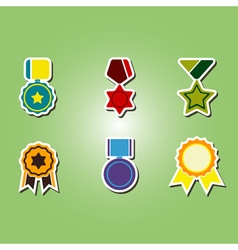 color icons with awards symbols vector image