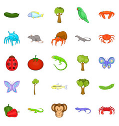crustaceans icons set cartoon style vector image