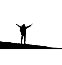 traveler is standing on top of a mountain vector image