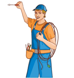 Young cheerful electrician vector image vector image