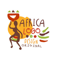 african ethnic tribal logo with female silhouette vector image
