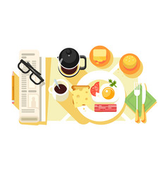 breakfast fried eggs and coffee design flat vector image