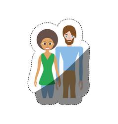 couple romantic relation shadow vector image