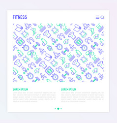 fitness concept with thin line icons vector image