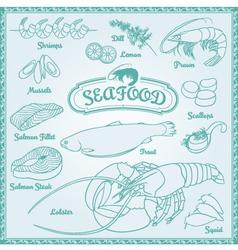 Outline Seafood Set vector image vector image