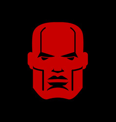 Serious face logo man head emblem red manly mask vector