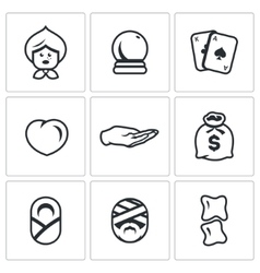 Set of The Seer and Healer Icons Grandma vector image vector image