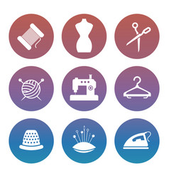 sewing or tailor shop silhouette icons set vector image vector image