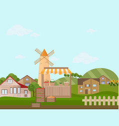 town or village architecture modern flat style vector image vector image