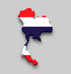 3d isometric map thailand with national flag vector image