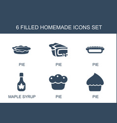 6 homemade icons vector