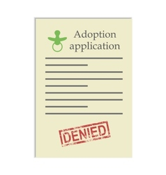 Adoption application with denied stamp vector
