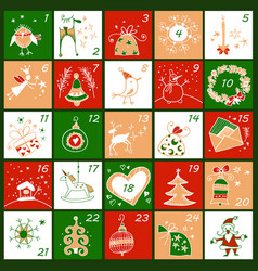 Advent calendar christmas childish poster vector