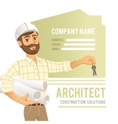 Architect in helmet with blueprints and keys in vector