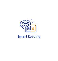 brain and open book intellect development vector image