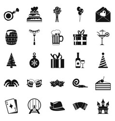 Cake for the holiday icons set simple style vector