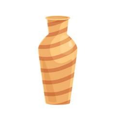 Ceramic vase earthen striped vessel pottery art vector